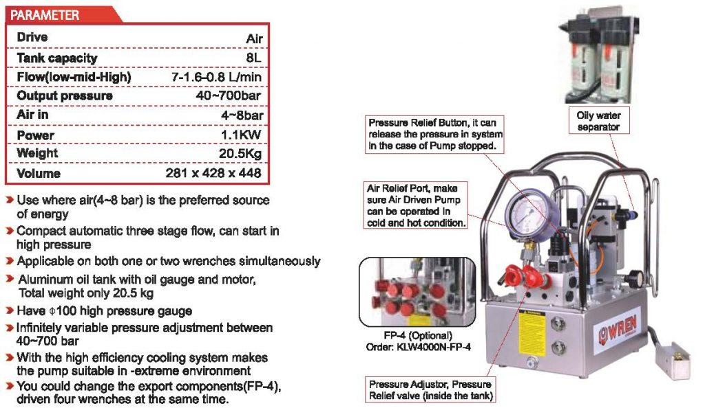 Hydraulic Pump for Hydraulic Torque Wrench - Pneumatically